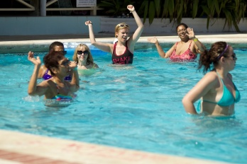 Conga line IN the pool!